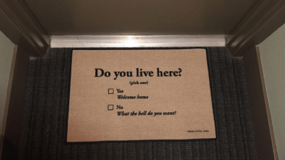 do you live here? welcome doormat