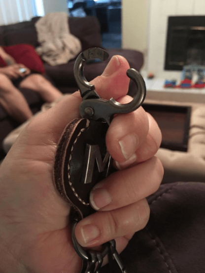 solid leather alphabet keychain