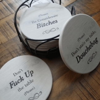 coasters with warning phrases