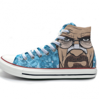 converse shoes with walter white's face on it